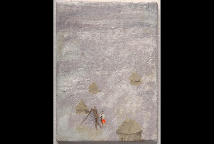 Congo Republic. Óleo, fluorescente y pigmento sobre lienzo. Serie Apart Together.  11 x 22 cm