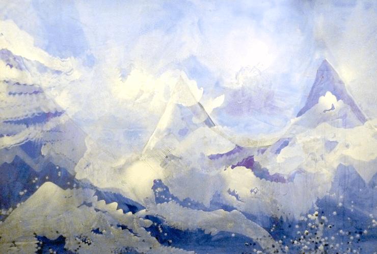 Entre el cielo y la tierra, 2007. Acrílico sobre lienzo, 170x300 cm. Fotos: Luis Muñoz
