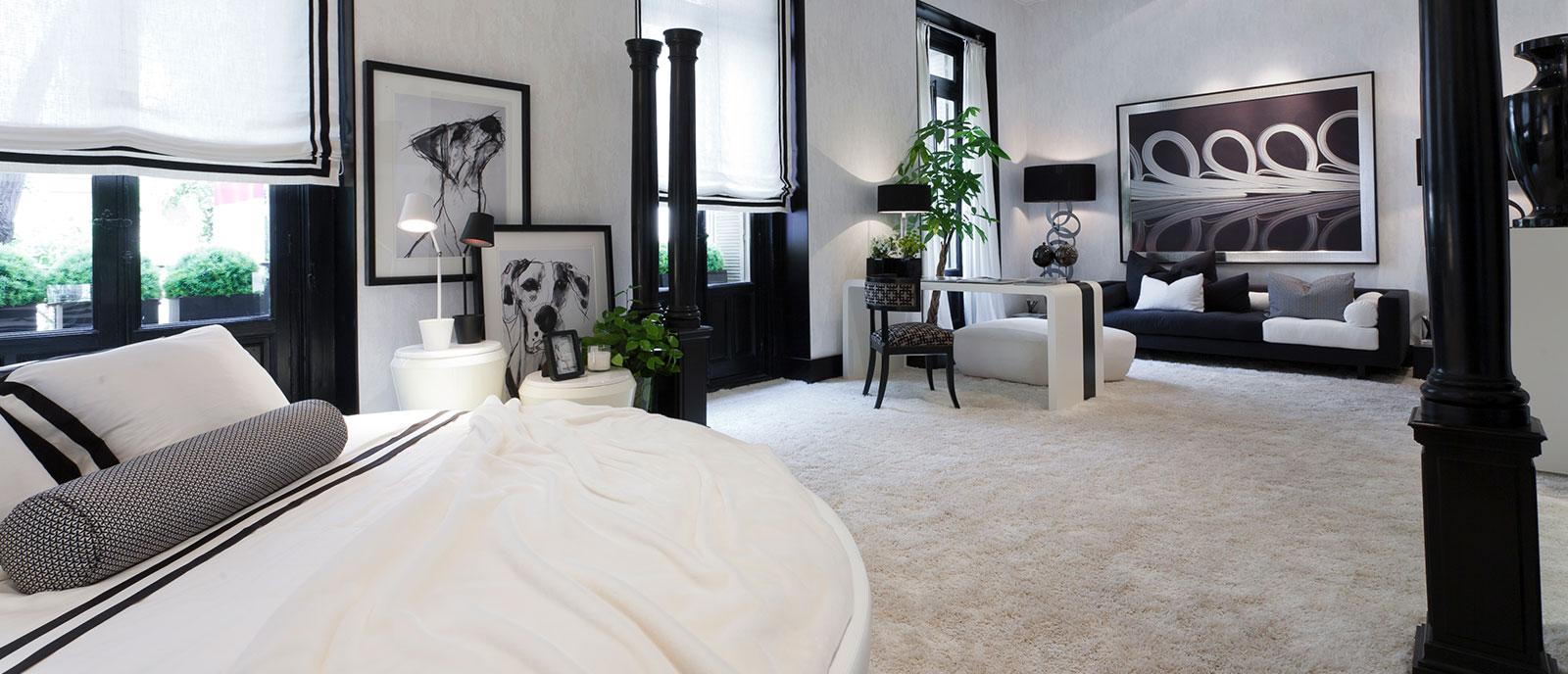 Dormitorio en blanco y negro – «Un sueño redondo»