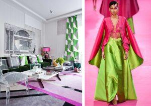 Salón en tonos verdes y rosas
