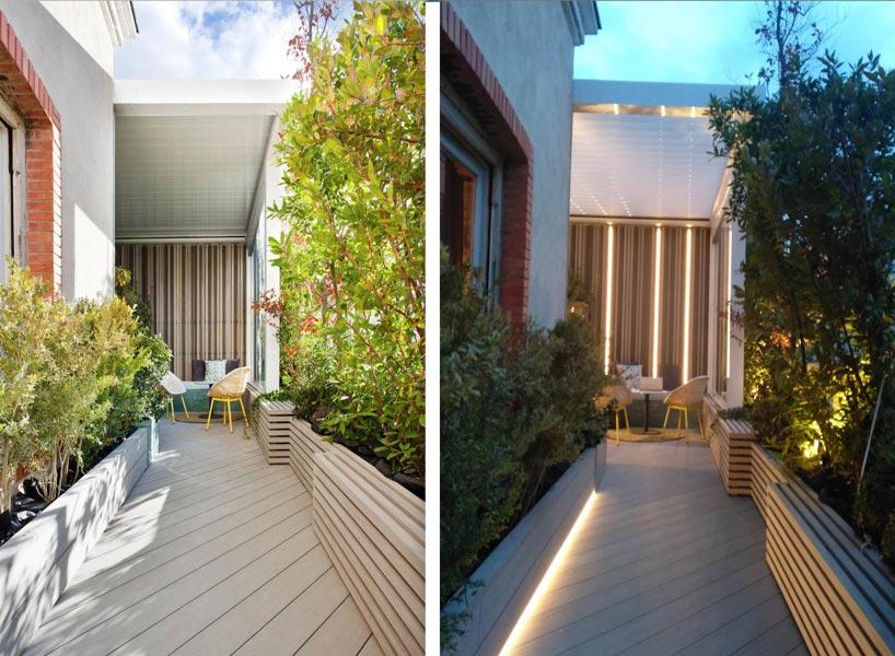 Terraza con iluminación LED