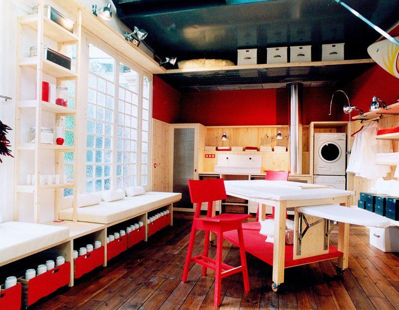 Un sótano convertido en un luminoso cuarto de lavado