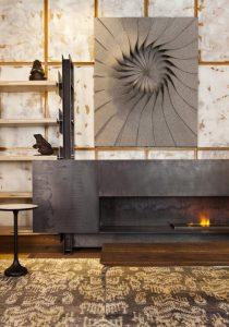 """Salón con chimenea – """"Fondos y texturas"""" por Diego Rodríguez en Casa Decor 2014"""