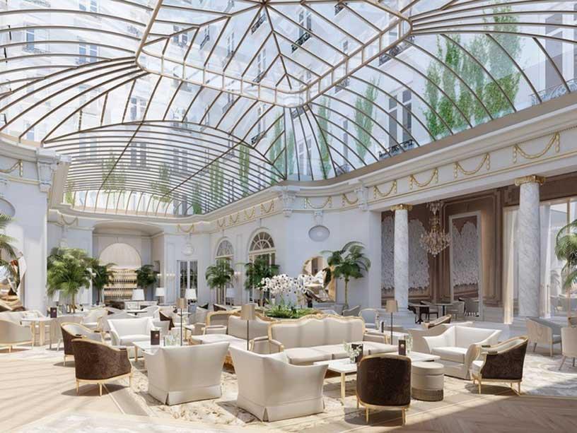 Cúpula de vidrio en la sala Palm Court